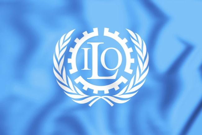 3D illustration av ILO:s flagga
