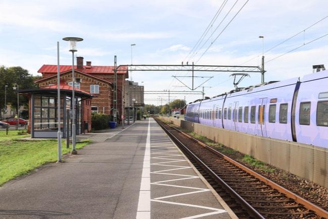 Tågstation i skånska Vinslöv i Sverige.