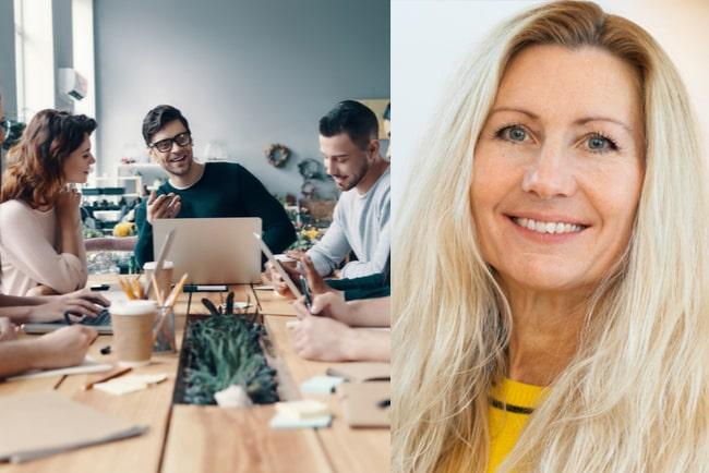 unga kollegor sitter och har möte i kreativt kontor