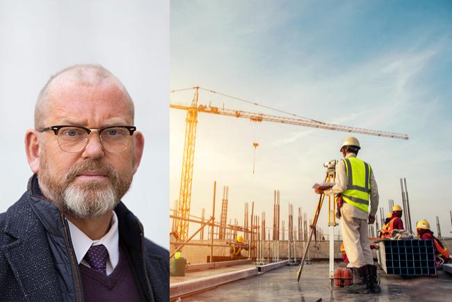 byggnads ordförande johan lindholm och byggarbetare på byggarbetsplats