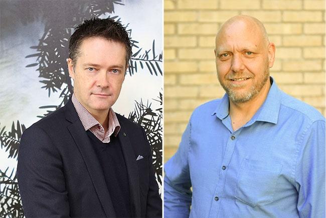 Per-Olof Sjöö, förbundsordförande GS, och Pontus Georgsson, förbundsordförande Pappers