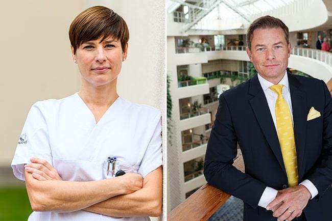Sofia Rydgren Stale, ordförande för Sveriges Läkarförbund, och Joakim Larsson, ordförande för SKR:s förhandlingsdelegation